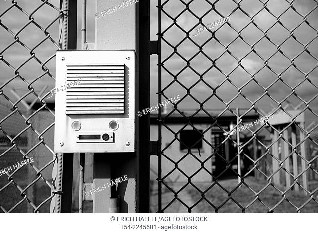 Intercom at the entrance of a military security area, Memmingerberg, Germany