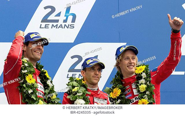 The drivers of the second placed Porsche 919 Hybrid Porsche team, GER, Mark Webber, AUS, Timo Bernhard, GER, and Brendon Hartley, NZL, Circuit de la Sarthe