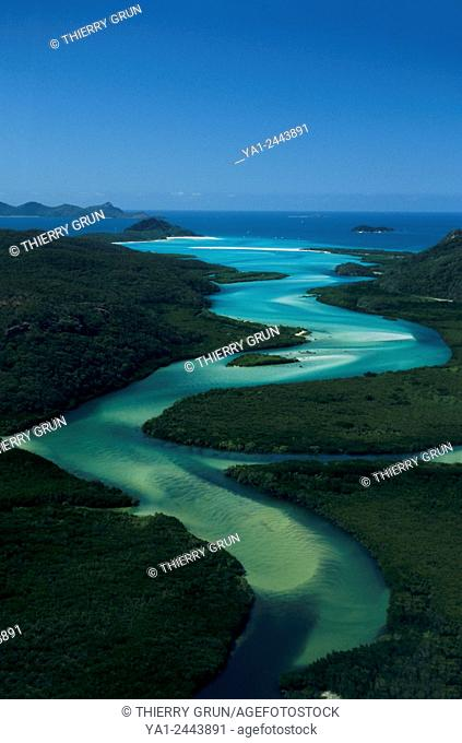 Australia, Queensland, Whitsunday island, sand water canal going down to Hill Inlet and Whitehaven Beach aerial view