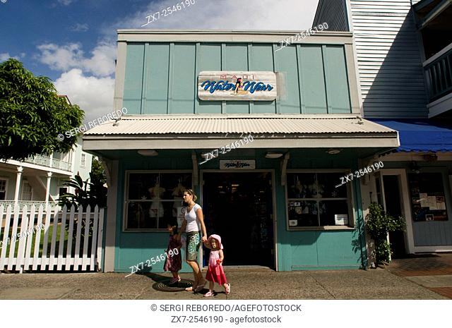 Water wear. Maui. Shops in Lahaina center, Maui, Hawaii. Front Street. One of the most popular places to shop in Lahaina is Front Street