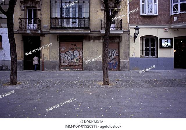 City Center, Plaza Conde de Barajas, houses, building of Cinearte, Madrid, Spain, Europe