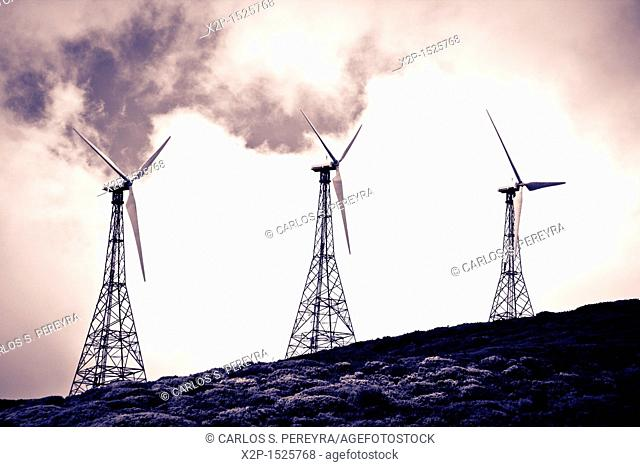 Old wind turbines in Andalusia, Spain