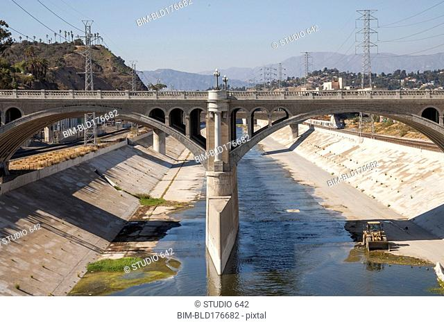 Bridge over urban aqueduct of Los Angeles River, Los Angeles, California, United States