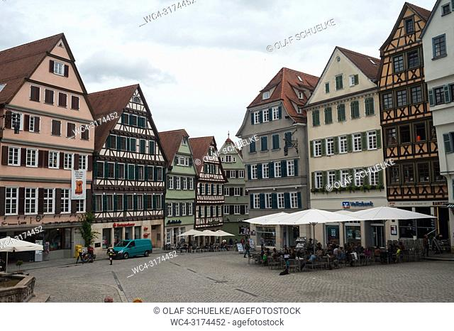 06. 06. 2017, Tuebingen, Baden-Wuerttemberg, Germany, Europe - The market square in Tuebingen's old town
