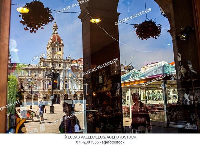 reflections, City hall, Plaza de Maria Pita, Coruña city, Galicia, Spain