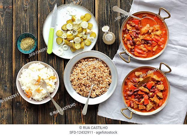 Pork, pepper and red bean goulash, buckwheat, sauerkraut, pickled cucumbers