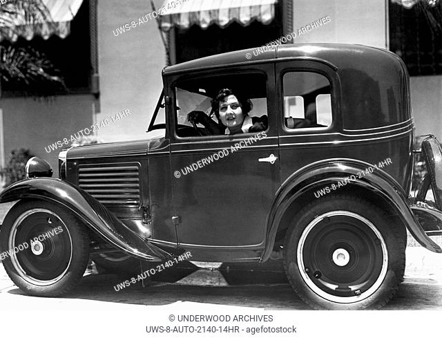 Hollywood, California: 1930.Actress Vera Steadman in her American Austin coupe