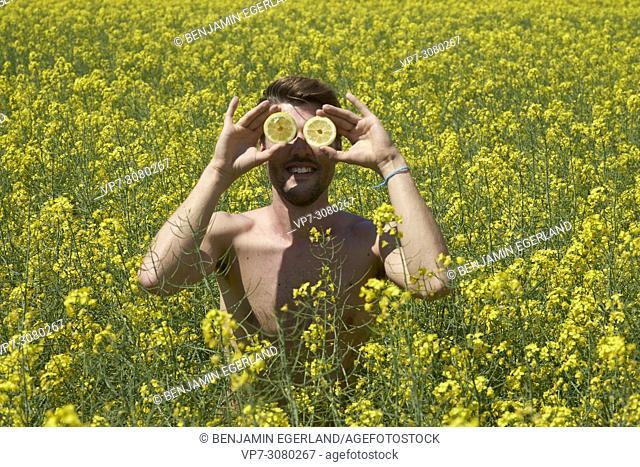 Shirtless man holding lemon fruit slices in front of eyes, standing in colza field. Positive attitude