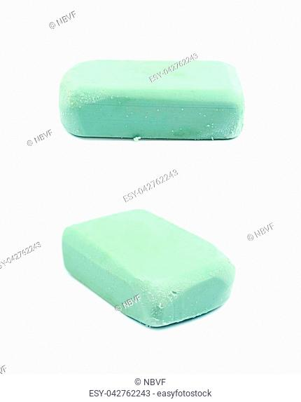 Rubber eraser isolated over the white background , set of several different foreshortenings