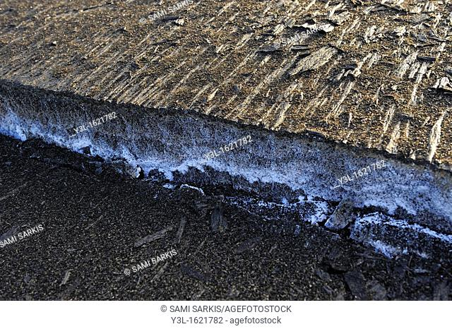 Detail of a crack in cooled pahoehoe lava flow, Kilauea Volcano, Big Island, Hawaii Islands, USA