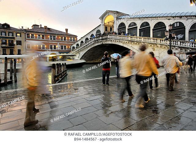 The Rialto Bridge (Italian: Ponte di Rialto). One of the four bridges spanning the Grand Canal. The present stone bridge