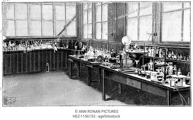 Part of Pierre and Marie Curie's laboratory, Paris, 1904. It was here that they did much of their work on magnetism and radioacticity which led to the 1903...