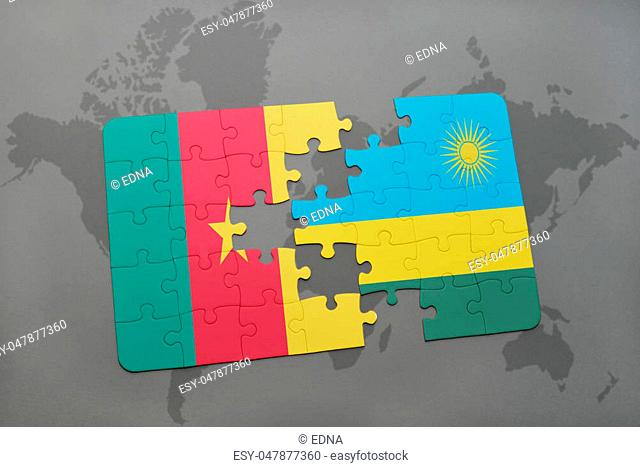 puzzle with the national flag of cameroon and rwanda on a world map background. 3D illustration