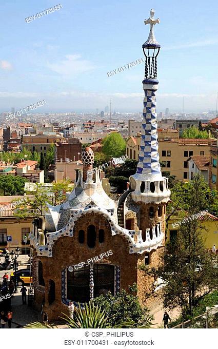 Building in Park G�ell in Barcelona, Spain