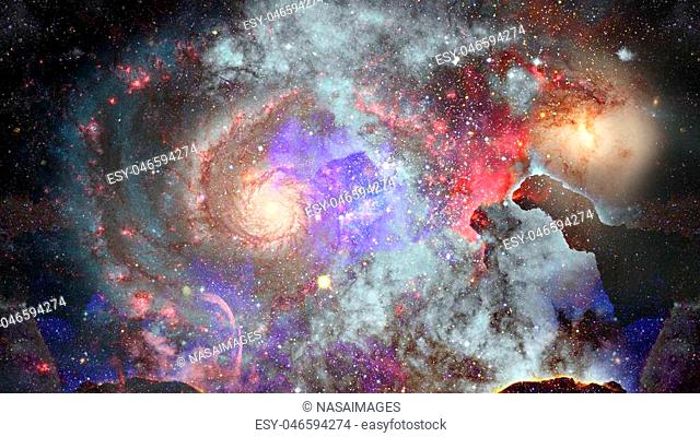 Nebula and galaxy in space. Elements of this image furnished by NASA
