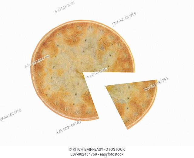 Meat pies isolated against a white background