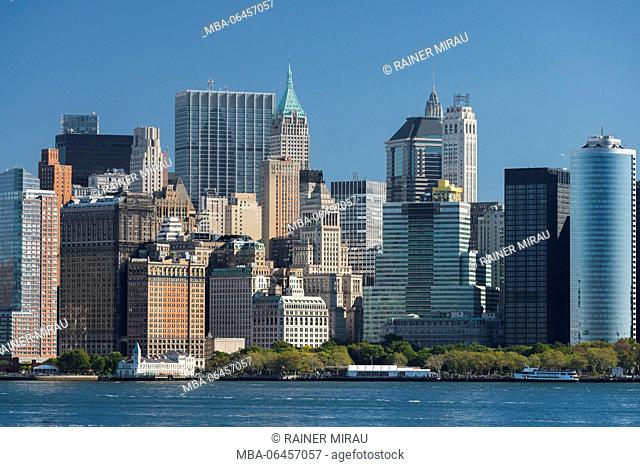 Lower Manhattan skyline of Hudson River, New York city, New York, the USA