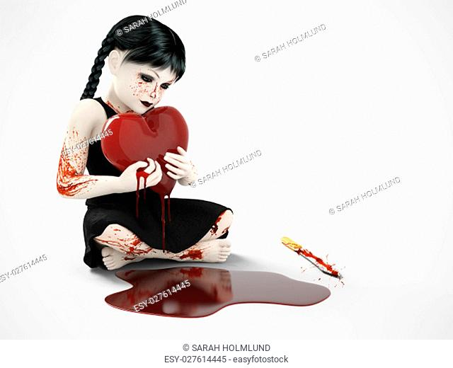 3D rendering of an evil gothic looking, blood covered small girl holding a bleeding heart. There is a knife on the floor and a puddle of blood