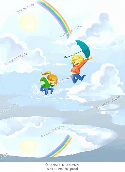 Happy siblings jumping in puddle, illustration