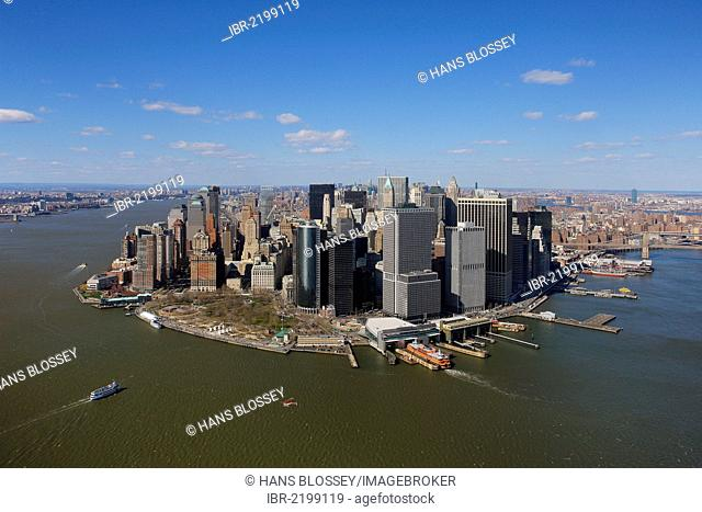 Aerial view, sightseeing flight, Battery Park, southern tip of Manhattan, New York City, New York, United States, North America