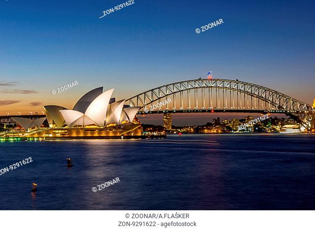 View on Sydney opera and Harbour bridge at night, long exposure