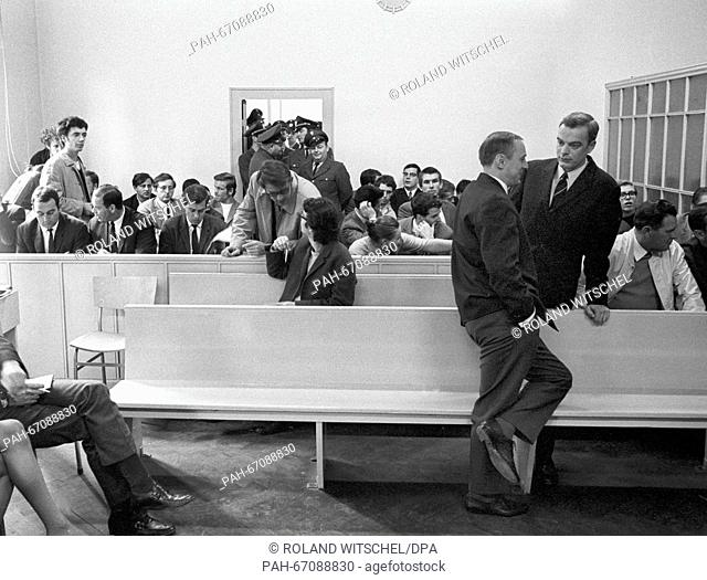 View of the visitors of the lawsuit against student leader Daniel Cohn-Bendit (not in picture). He had to face the charge of civil disorder on 27 September 1968...