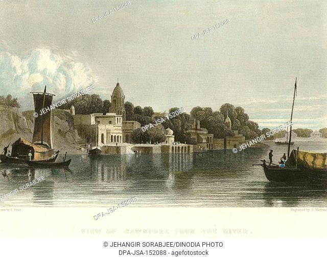 Lithographs View of Cawnpore from River ; Kanpur ; Uttar Pradesh ; India