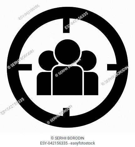 People in target or target audience icon black color vector illustration flat style simple image