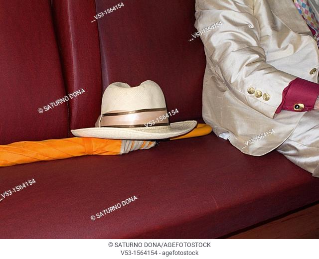 Passenger with hat and umbrella on the seat of a train