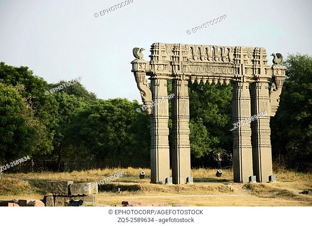 Ornamental gateways to the temple complex, Warangal Fort, Warangal, Telangana, India