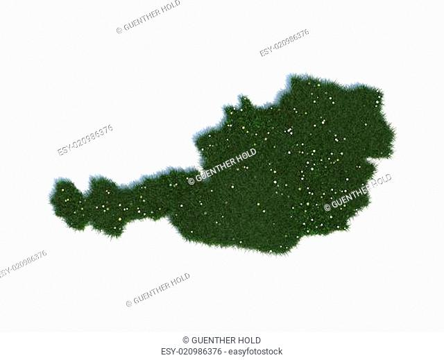 Map of Austria Series Countries out of realistic Grass
