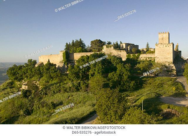 Castello di Lombardia Fortress in the morning, Enna. Sicily, Italy