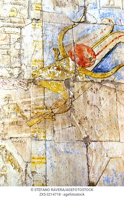 Relief of Hathor as a cow on wall in the Mortuary temple of queen Hatshepsut at Deir el-Bahri - West Thebes, Upper Egypt
