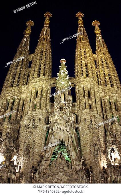 La Sagrada Familia at night Barcelona