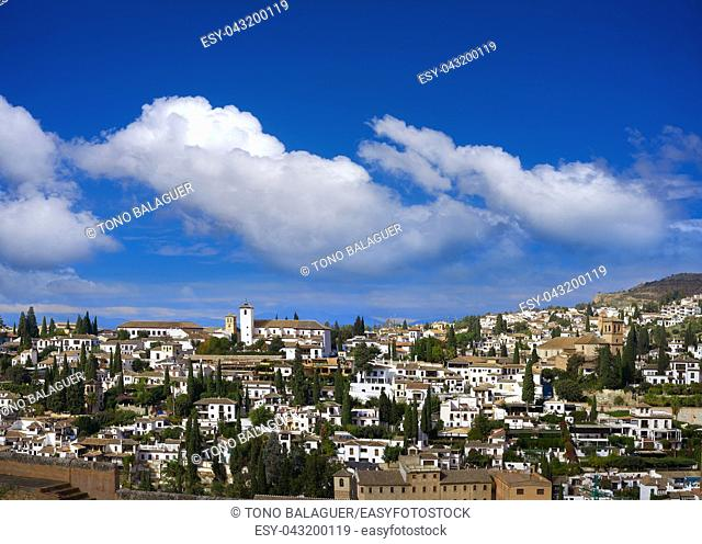 Albaicin view from Alhambra in Granada of Spain Albayzin district