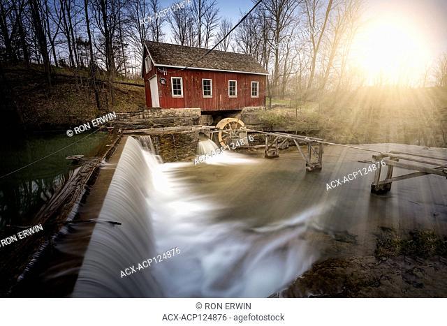 Upper DeCew Falls and the Morningstar Mill in St. Catherines, Ontario, Canada (digital illustration)
