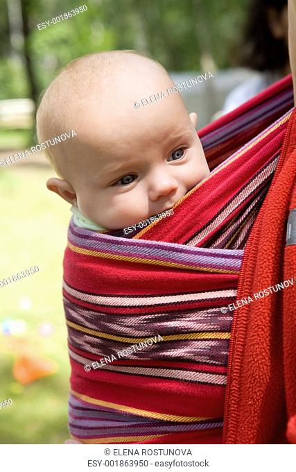 little cute girl six month old sitting in sling. Summer time
