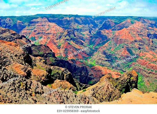 Colorful Waimea Canyon on the island of Kauai in Hawaii