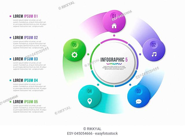 Rotating circle chart template with 5 options. Vector design for infographics, presentations, reports, layouts, projects, visualization