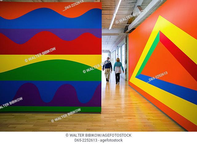 USA, Massachusetts, North Adams, Mass MOCA, Massachusetts Museum of Contemporary Art, former mill buildings converted into art museum, paintings by Sol LeWitt