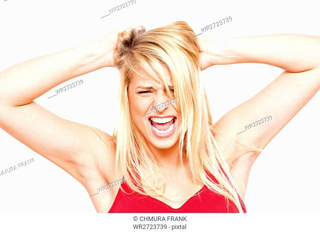 adult, anger, angry, attractive, beautiful, blond, casual, Caucasian, concept, cry, emotion, expression, face, female, frustrated, frustration, girl, hair, hand