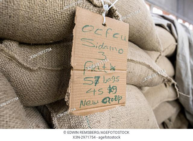 Addis Ababa, Ethiopia - Hundreds of bags of arabica coffee beans ready for export at Oromia Coffee Farmers Cooperative