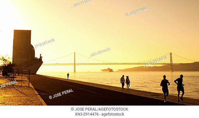 Walking corridors, Monument to the Discoveries and 25 April bridge, Tagus River, Rio Tejo, Santa Maria de Belém district, Lisbon, Portugal, Europe