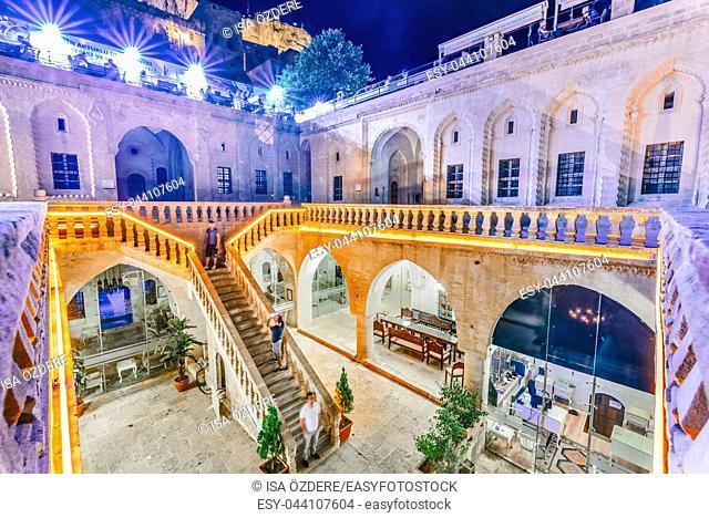 Courtyard of Old Post Office Building (House of Sahtana Family),a popular landmark in Mardin,Turkey. 17 June 2018
