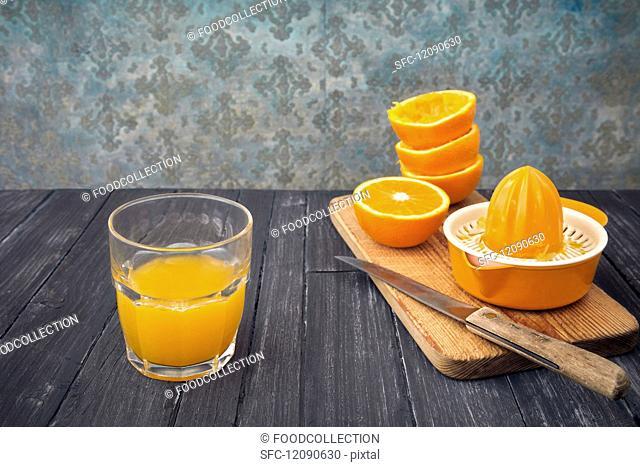 Freshly pressed orange juice in a glass
