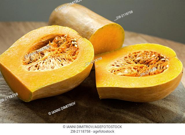 Butternut squash (Cucurbita moschata)-cut in half
