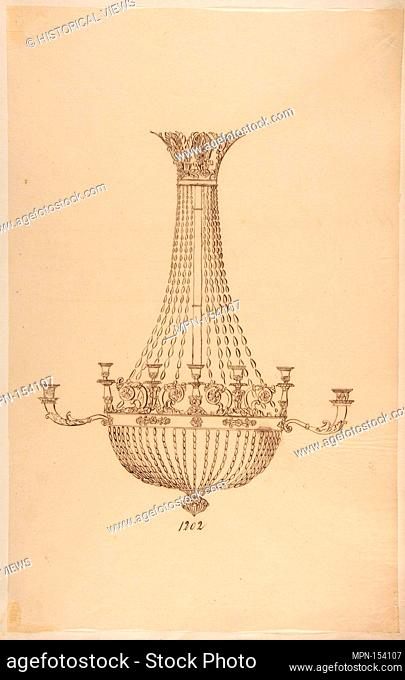 Design for a Chandelier. Artist: Anonymous, French, 19th century; Date: 19th century; Medium: Pen and brown ink; Dimensions: sheet: 16 5/16 x 10 1/4 in