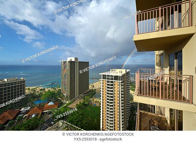 view of the rainbow from a hotel balcony, Waikiki, Honolulu