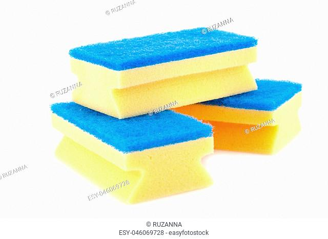 Pile of sponges isolated on white background
