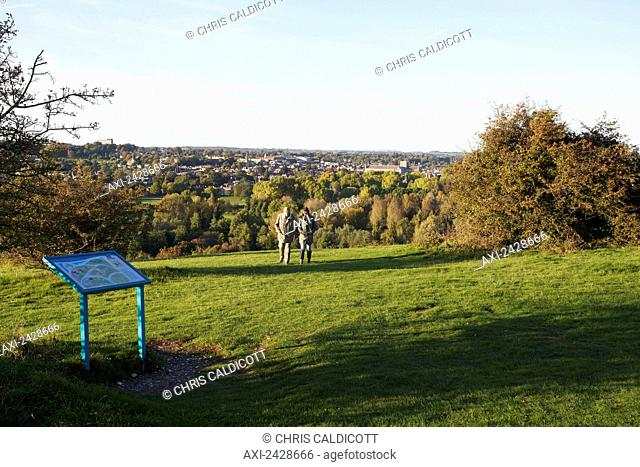 People walking on St. Catherine's Hill; Winchester, Hampshire, England